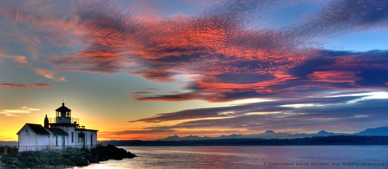 Sunset image of West Point Lighthouse Seattle Washington USA