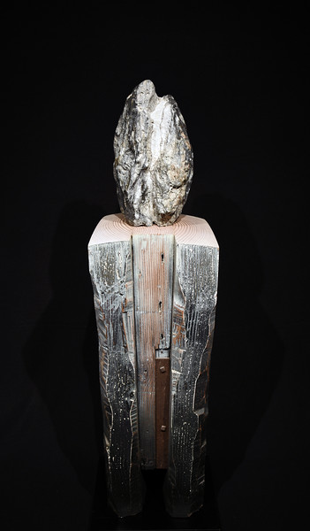 """Prayer (Yosemite Falls)""; W 11""x D 11""x 3'4""; Klamath River; stone on Douglas Fir (recycled roof beam)"