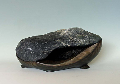 """""""The Cave"""" - 2008; W 18"""" x D 10 """" x H 8 1/2""""; Eel River stone and ash wood with stain  http://suisekiart.com/2008/06/05/the-cave/"""