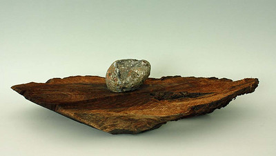 """Found Object, June 2008; W 21"""" x D 12"""" x H 5""""; Stone, Walnut with stain  http://suisekiart.com/2008/06/26/found-object/"""