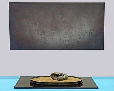 """""""Silence""""; Klamath River stone (W 8 1/2"""" x D 6 1/2"""" x H 4 """") in copper suiban; Oil painting on wood - 48"""" x 24""""  http://suisekiart.com/2008/01/23/something-old-something-new/"""