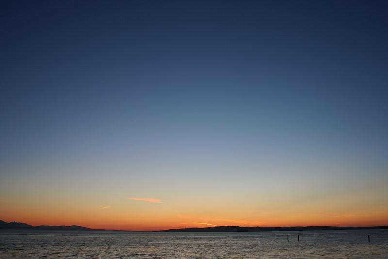 Sunset Over Useless Bay with Three Pilings; Washington