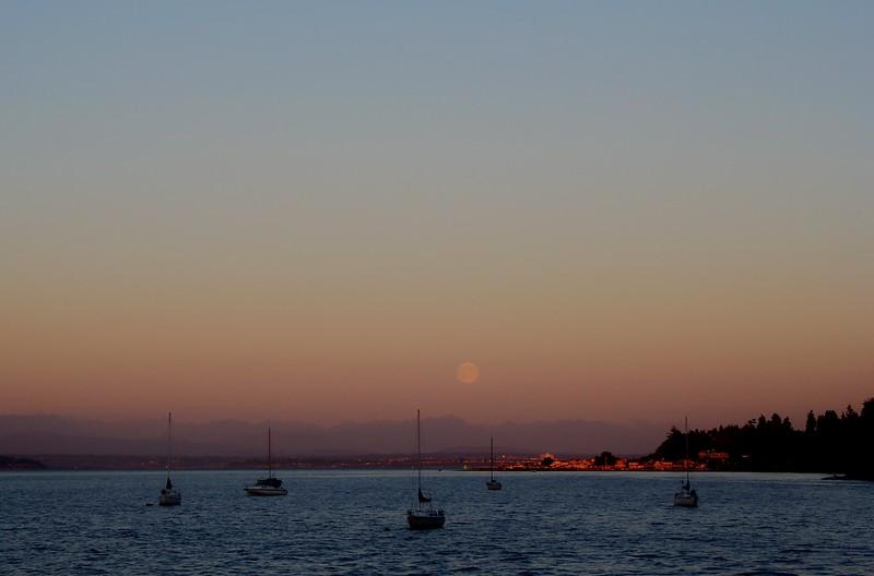Full Moon Rising Over the Cascades, from Langley, Washington