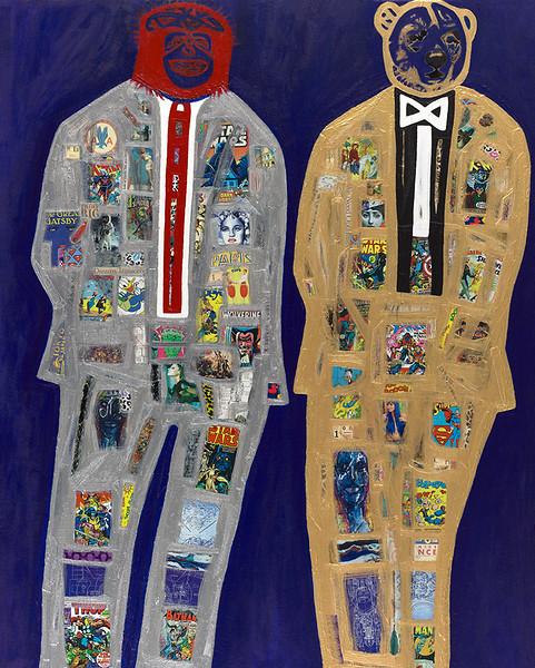 Super Men Series #2 - Virtue - 60x48 - mixed media on canvas 2015.