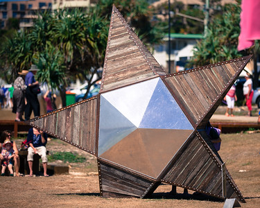 """The Star That Fell to Earth, David Stott - Swell Sculpture Festival 2014, Visit 1; Curumbin, Gold Coast, Queensland, Australia; 17 September 2014. Photos by Des Thureson - Alternate Processing: """"Old Polar"""""""
