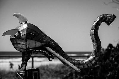 "Jamming at the Beach, Joe Stark - Swell Sculpture Festival 2014, Visit 1; Curumbin, Gold Coast, Queensland, Australia; 17 September 2014. Photos by Des Thureson - Alternate Processing: ""Look 3""."