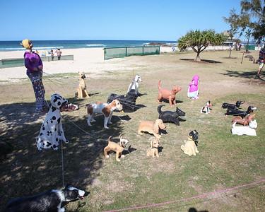 Sandy The Dog Walker, Monte Lupo - Swell Sculpture Festival 2016, Visit 1; Currumbin, Gold Coast, Queensland, Australia; 12 September 2016. Photos by Des Thureson - http://disci.smugmug.com
