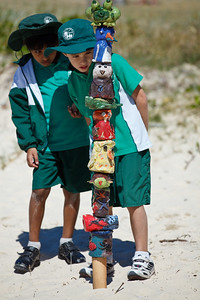 "No Touching - ""Dune Care Sculpted Totems"" - collaborative installation by Marie-France Boissonneault and students from southern Gold Coast schools - Swell Sculpture Festival, Pacific Parade, Currumbin Beach, Gold Coast, Queensland, Australia. Photos by Des Thureson:  http://disci.smugmug.com."