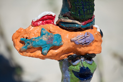 """Dune Care Sculpted Totems"" - collaborative installation by Marie-France Boissonneault and students from southern Gold Coast schools - Swell Sculpture Festival, Pacific Parade, Currumbin Beach, Gold Coast, Queensland, Australia. Photos by Des Thureson:  http://disci.smugmug.com."