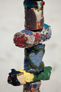 """""""Dune Care Sculpted Totems"""" - collaborative installation by Marie-France Boissonneault and students from southern Gold Coast schools - Swell Sculpture Festival, Pacific Parade, Currumbin Beach, Gold Coast, Queensland, Australia. Photos by Des Thureson:  http://disci.smugmug.com."""