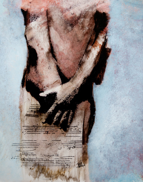 DETAIL VAN MUSIQUE, mixed media op papier, 50x70cm, €650,00, Kunstuitleen € 12,00 per maand