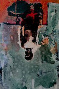 SPIEGELS   Ingelijst 50x70 acryl op papier € 750,00  Mixed media op papier  Via de kunstuitleen € 12,50 per maand. Het gehele huurbedrag is ook het spaarbedrag.