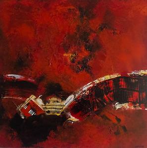 Achter de kleur mixed media op doek 100x100 cm € 2.100,00 via de kunstuitleen € 21,00 per maand