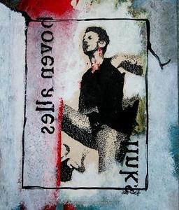 BOVEN ALLES, mixedmedia, papier, 14x18, 200,00  Kunstuitleen € 12,50 per maand