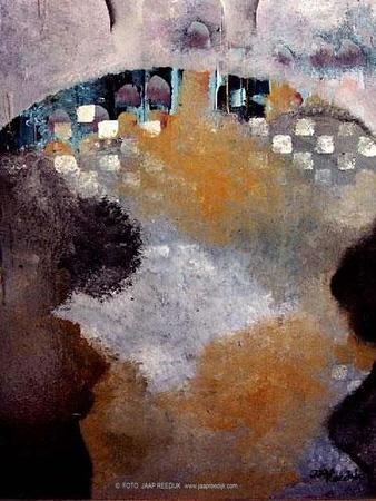 RICH , mixedmedia, paneel, 50x70, 1300,00,  kunstuitleen 13 euro per maand, kunstenaar Jaap Reedijk