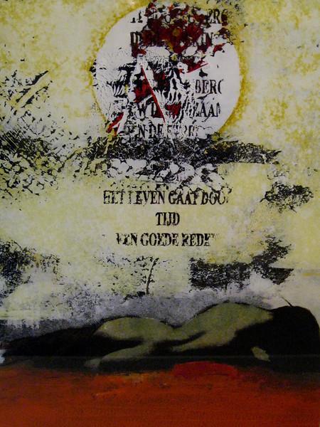 HET LEVEN GAAT DOOR 50x70 acryl op papier € 850,00  Kunstuitleen €12,50 per maand