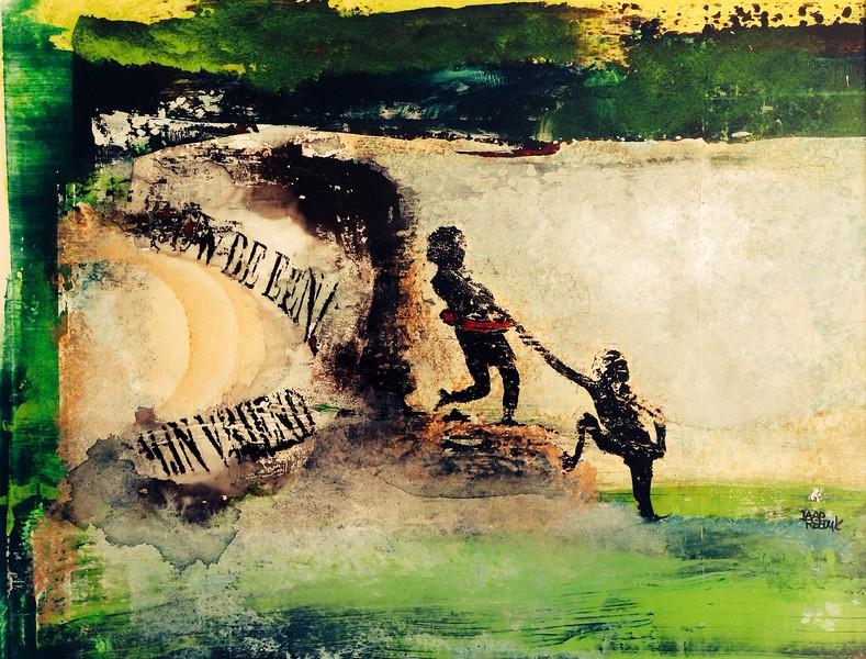 """""""MIJN VRIEND"""" mixed media 50x60 cm buitenmaat 40x50 cm binnenmaat € 750,00  via de kunstuitleen € 12,50 per maand"""
