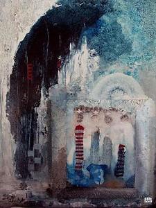 HOGEROP DAN TOEN, mixed, mediapaneel, 50x70, € 1400,00 Kunstuitleen € 14,00 per maand Kunstenaar Jaap Reedijk