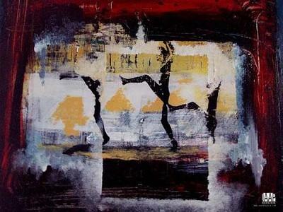 VOORSTELLING, uitvoering, mixedmedia, paneel, 81x61, 1100,00,  kunstuitleen 12,50 euro per maand, kunstenaar Jaap Reedijk