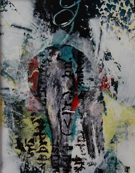"""EIGENAARDIGHEDEN 14"""" , mixed media op papier,  18x14cm, ingelijst 50x40 cm, € 200,00 Kunstuitleen € 12,00 per maand"""