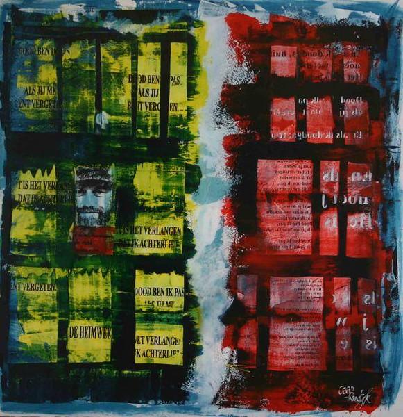 BRAM VERMEULEN 1, mixedmedia, paneel, 120x110, € 2200,00 Kunstuitleen € 22,00 per maand Kunstenaar Jaap Reedi