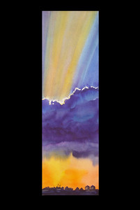 Big Blue Cloud was painted to see if I could achieve the strong white cloud edge and sun rays in the setting sunset. This original painted on 140 lb. paper has been sold.