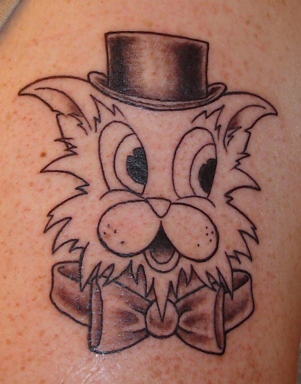 tattoo cat tophat bowtie