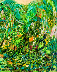 "© John Rachell Title: Garden, January 13, 2006 (LH) Image Size: 24"" W by 30"" D Dated: 2006 Medium & Support: Oil Painting on Canvas Signed: LL Signature"