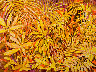 "© John Rachell Title: Garden May 16 2006 Size: 48"" W by 36"" D Dated: 2006 Medium: Oil Painting on Canvas Signed: LL signature"