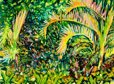 "© John Rachell Title: Garden, February 17, 2006 (LH) Image Size: 48"" W by 36"" D Dated: 2006 Medium & Support: Oil Painting on Canvas Signed: LR Signature"
