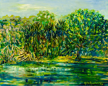 "©John Rachell  Title: Fairchild Tropical Garden, Miami, April 25, 2006 Image: 40""w X 30""d Dated: 2006 Medium & Support: Oil paint on canvas Signed: LR Signature"