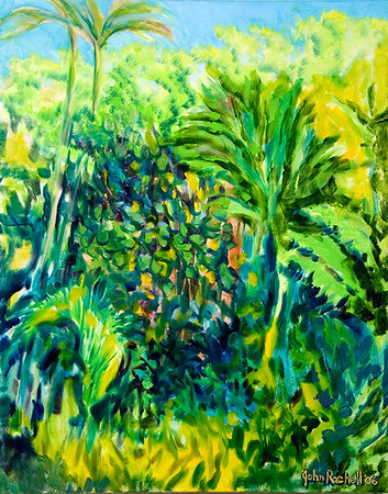 """© John Rachell Title: Garden, Jasnuary 10, 2006 (LH) Image Size: 24"""" W by 30"""" D Dated: 2006 Medium & Support: Oil Painting on Canvas Signed: LR signature"""