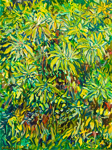 "©John Rachell Title: The Garden April 23 2006 Size: 36"" W by 48"" D Dated: 2006 Medium: Oil Painting on Canvas Signarure: LL Signature"