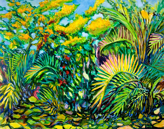 """© John Rachell Title: Garden, February 10, 2006 (LH) Image Size: 60"""" W by 48"""" D Dated: 2006 Medium & Support: Oil Painting On Canvas Signed: LR Signature"""