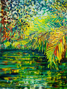"© John Rachell Title: Memories of Fairchild Tropical Garden May 1 2006 Size: 36"" W by 48"" D Dated: 2006 Medium: Oil Painting on Canvas Signed: LL Signature"