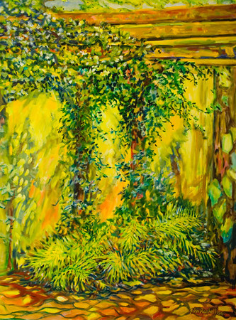 """©John Rachell  Title: The Garden March 30, 2006 Image: 36""""w X 48""""d Dated: 2006 Medium & Support: Oil paint on canvas Signed: LR Signature"""