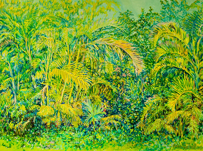 "© John Rachell Title: The Garden April 21, 2006 Image Size: 48"" W by 36"" D Dated: 2006 Medium & Support: Oil Painting on Canvas Signed: LR Signature"