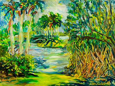 "© John Rachell Title: Fairchild Tropical Garden Miami April 24 2006 Size: 40"" W by 30"" D Dated: 2006 Medium: Oil Painting on Canvas Signed: LR Signature"