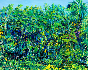 "© John Rachell Title: Garden, January 18, 2006 (LH) Image Size: 30"" W by 24"" D Dated"" 2006 Medium & Support: Oil Painting on Canvas Signed: LL Signature"