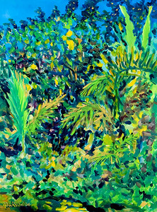 "© John Rachell Title: Garden, January 2, 2006 (LH) Image Size: 30"" W by 40"" D Dated: 2006 Medium & Support: Oil Painting on Canvas Signed: LL Signature"