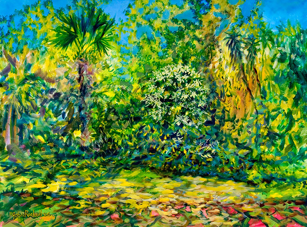 """© John Rachell Title: Garden, February 1, 2006 (LH) Image Size: 40"""" W by 30"""" D Dated: 2006 Medium & Support: Oil Painting on Canvas Signed: LR Signature"""