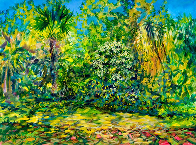 "© John Rachell Title: Garden, February 1, 2006 (LH) Image Size: 40"" W by 30"" D Dated: 2006 Medium & Support: Oil Painting on Canvas Signed: LR Signature"