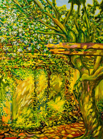 """©John Rachell  Title: The Garden March 25, 2006 Image: 36""""w X 48""""d Dated: 2006 Medium & Support: Oil paint on canvas Signed: LL Signature"""