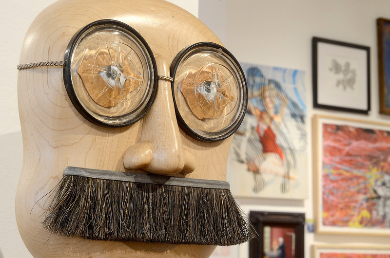 "Mike McMahon - The Record, ""Self-Portrait"" wood, mixed media by Peter Leue. Fence show at Arts Center of the Capital Region in Troy, Monday May 19, 2014"