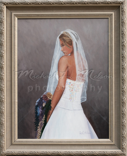 "<font size =5><b>""Misty"" <font size =3></b>18""x24""  SOLD - This 18""x24"" oil on canvas Bridal Portrait was created and hand painted based upon photographs submitted from my clients wedding. Once completed it was mounted and delivered in this gorgeous frame."