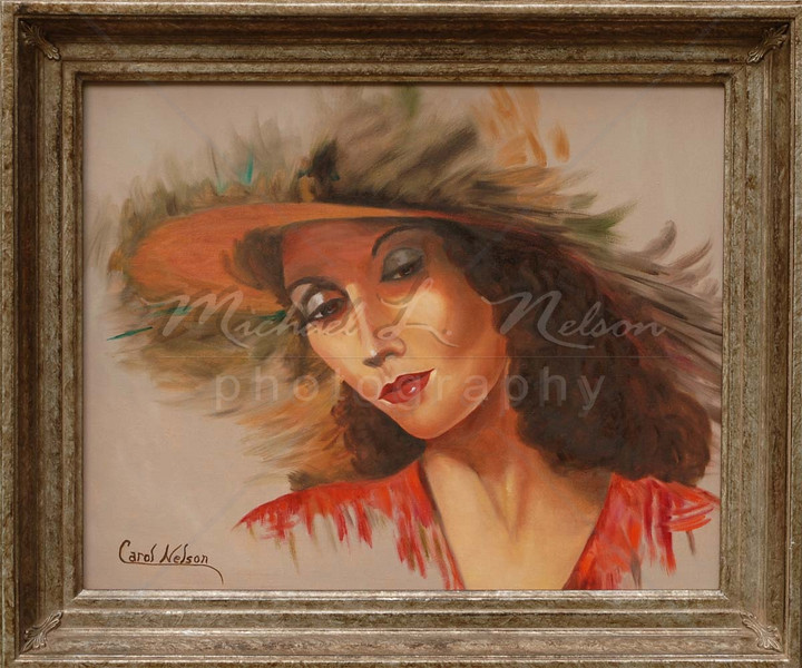 "<font size =5><b>""Lady in Red"" <font size =3></b>16""x20"" She is absolutely stunning when framed. This piece of art is sure to draw admirers and spark conversations when hung in your home or office."