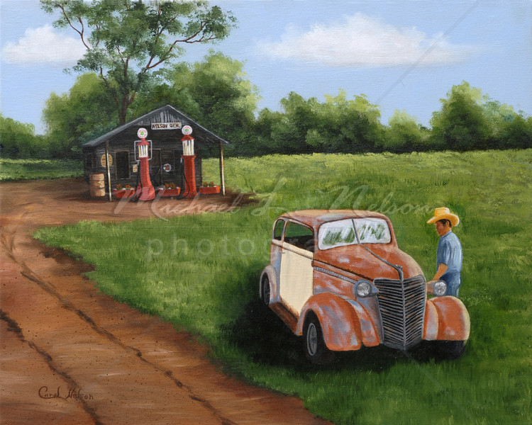 "<font size =5><b>""End of the Road"" <font size =3></b>16""x20"" In this painting Carol reminds us of the fond memories and of the life struggles that can be found at The End of the Road. The original Oil Painting is not for sale; however prints are available for purchase.  *Lustre Print on Kodak Professional Paper 16""x20"" only $53.95 8""x10"" only $17.50  *Giclee Print on 16""x20"" rolled canvas $124.95  *Giclee Print on 16""x20"" mounted canvas $224.95  Metallic prints are available in 8x10 and 16x20"