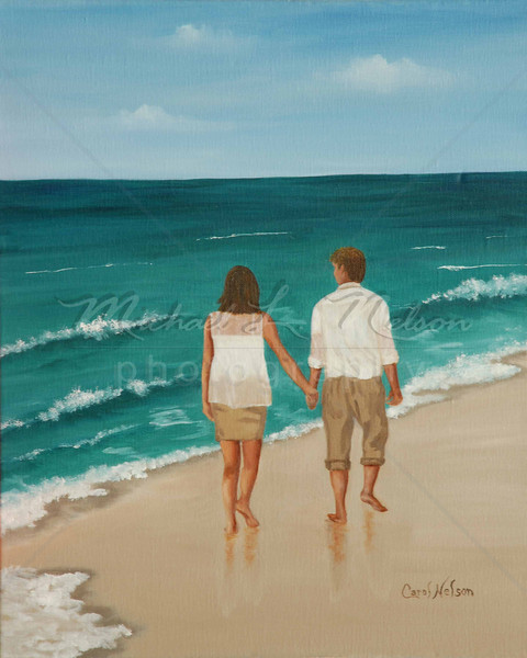 "<font size =5><b>""Young Love""<font size =3></b>  The original Oil Painting has been SOLD.  Sorry, but prints are not available for this painting.   Carol can create a heirloom Oil Painting of you and your lover walking on the beach. Please contact me for more information."