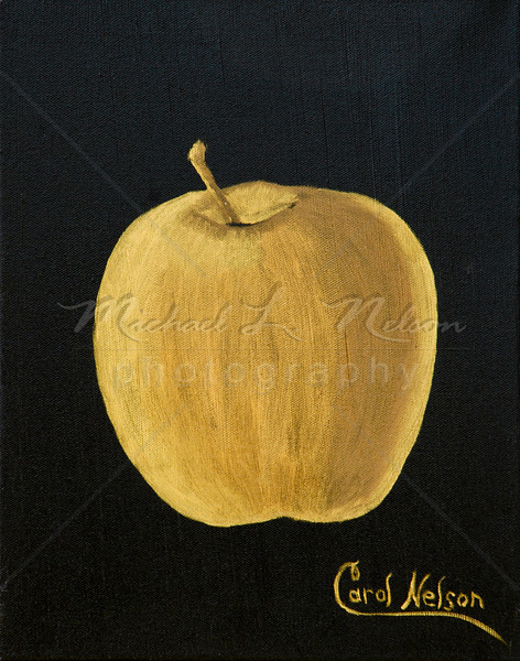 "<font size =5><b>""Golden Apple"" <font size =3></b> 11""x14"" This apple truly is golden. It is a stunning gold metallic oil on a rich black canvas. This painting truly shimmers in any type of light. The original Oil Painting is not for sale; however prints are available for purchase.  Available in 11""x14"" only:  *Lustre Print on Kodak Professional Paper   $29.95 Metallic Paper  $49.95  *Giclee prints on rolled canvas $62.50  *Giclee prints on mounted canvas $149.95"