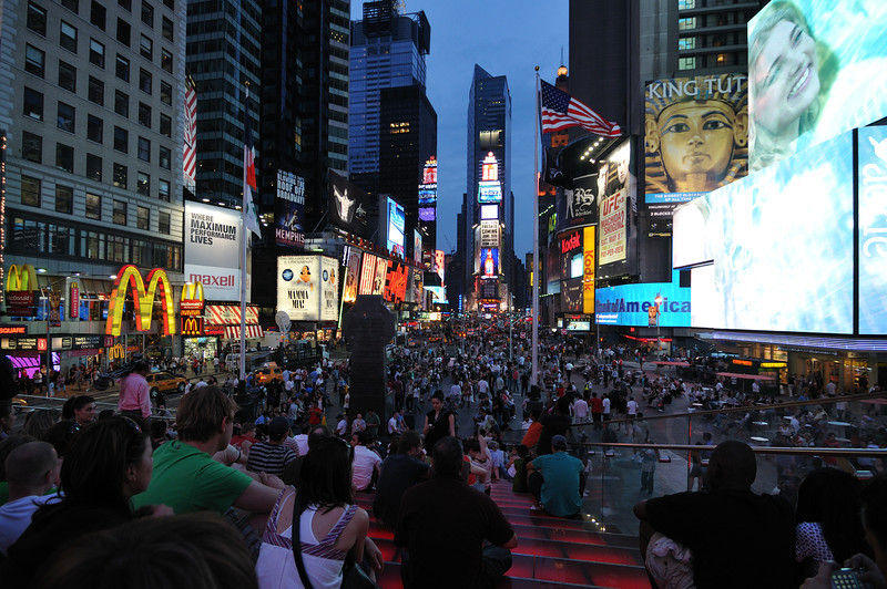 Times Square<br /> New York, New York<br /> USA<br /> The night after the failed car bombing attempt.<br /> The car bomb was located in the intersection below the Bank of America banner.